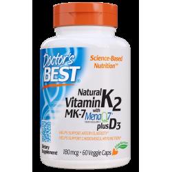 Doctors Best Natural Vitamin K2 + D3 with MenaQ7 180mcg 60 vcaps.