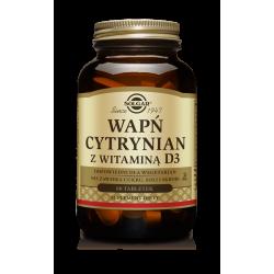 SOLGAR Cytrynian Wapnia + D3 60 tabs.