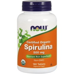 NOW Foods Spirulina Organic 500 mg 180 tabl.