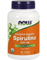 NOW Foods Spirulina Organic 500 mg 180 tabl.