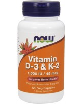 NOW FOODS Vitamin D-3 & K-2, 1,000 IU / 45 mcg, 120kaps.