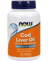 NOW FOODS Cod Liver Oil - Tran 1000 mg 90 kaps.