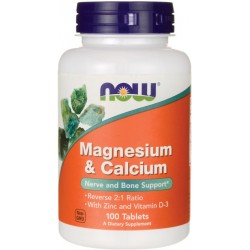 NOW FOODS Magnesium & Calcium + Zinc+D3 100 tabs.