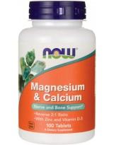NOW FOODS Magnesium & Calcium + Zinc + D3 100 tabs.