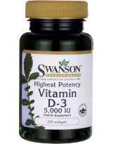 SWANSON Witamina D3 5000 IU 250 gels