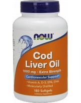 NOW FOODS Cod Liver Oil 1000mg - Tran 180 kaps.