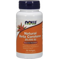 NOW FOODS Natural Beta Carotene 25000IU 90 gels.