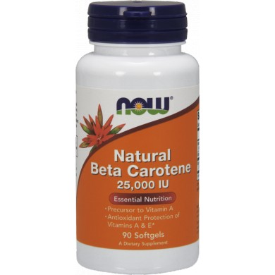 NOW FOODS Natural Beta Carotene 25000IU 90 gels.