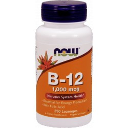 NOW FOODS B-12+Kwas Foliowy 1000mcg 250 lozenges