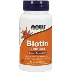 NOW FOODS Biotin 5000mcg 60 weg.kaps.