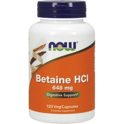 NOW FOODS Betaine HCL 648mg 120 weg.kaps.