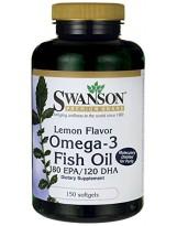 SWANSON Omega-3 Lemon flavour 150 gels