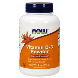 NOW FOODS Witamina D-3 Powder & Calcium Citrate 113g