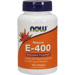 NOW FOODS Witamina E-400 + Selen 100 gels.